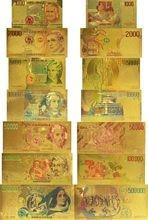 7 sztuk/partia kolekcja 1000,2000, 5000,10000, 50000,100000, 500000 lirów kolor włochy włoski złoty Bankote zestaw