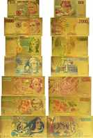 7 pcs/Lot Collection 1000,2000, 5000,10000, 50000,100000, 500000 Lire couleur italie italien or Bankote ensemble