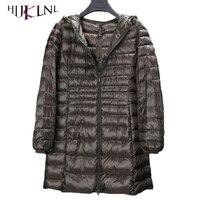 HIJKLNL 2017 plus rozmiar 5XL kobiet tęsknimy dół kurtki zimowe 6XL ultralight dół parki z kieszeni kobiet z kapturem dół płaszcz PL048