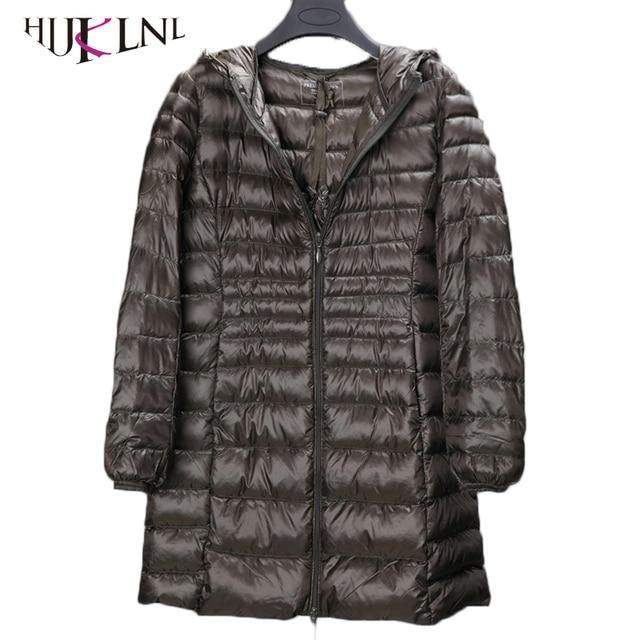 Hijklnl 2017 Большие размеры зимние женские длинные пуховики 5XL 6XL Сверхлегкий Парки с карманом женский пуховое пальто с капюшоном pl048