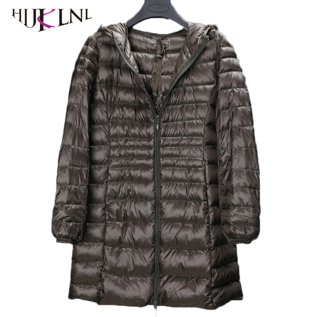 Hijklnl 2017プラスサイズ冬の女性の長いダウンジャケット5xl 6xl超軽量ダウンパーカー付きポケット女性フード付きダウンコートPL048