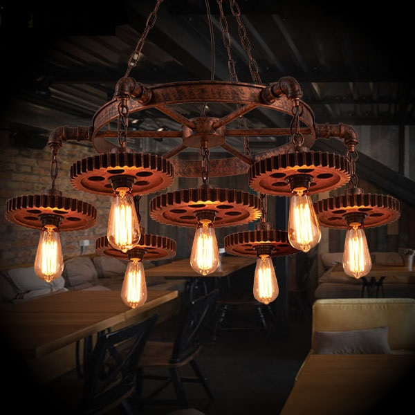 cafe bar vintage clothing Retro industry Loft gear 1st wind creative pendant lights restaurant store iron Pendant lamps ZA restaurant bar cafe pendant lights retro hone lighting lamp industrial wind black cage loft iron lanterns pendant lamps za10