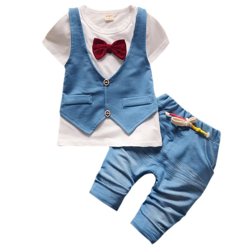 Baby Boy Cute Cartoon T-shirt + Shorts Infant Boy Short Sleeve Cotton Bow Tie Suits Children Clothing Set casual camouflage color short sleeve t shirt shorts boy s twinset