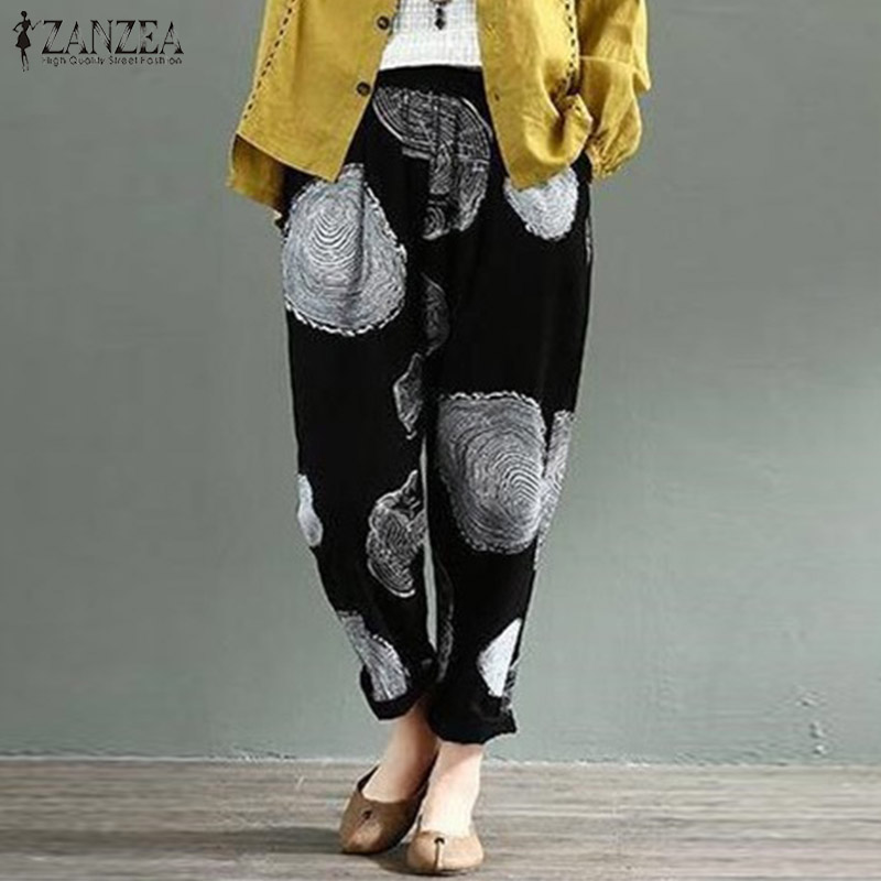ZANZEA Casual Linen Pants 2019 Women's Trousers Vintage Polka Dot Pantalon Female Elastic Waist Printed Turnip Pants Plus Size