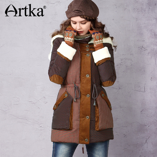 Artka Для женщин Пух куртка 2017 зимняя верхняя одежда для Для женщин 90% утка Пух пальто флис женские зимние пальто с капюшоном Пух куртка ZK13241D