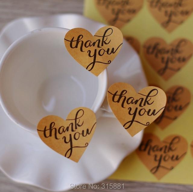 kraft brown thank you heart stickers envelope seals wedding labels