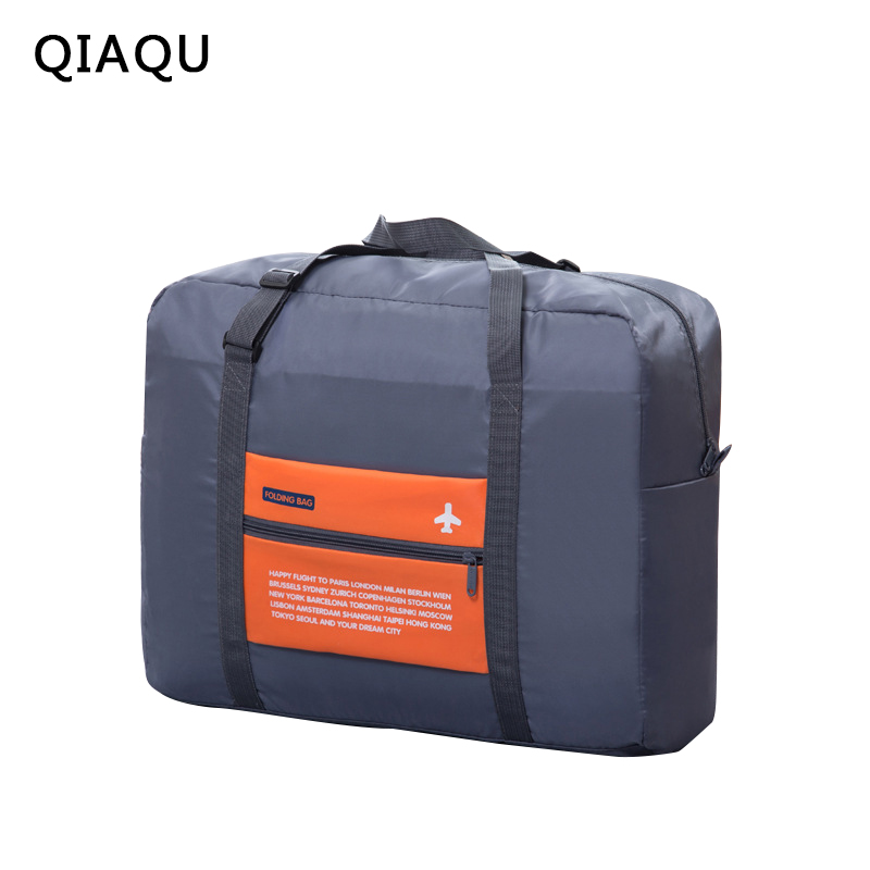 QIAQU  2018 Free Shipping New Folding Travel Bag  Large Capacity Unisex Luggage Packing Women Nylon Travel Handbags