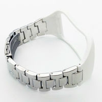 Adjustable Metallic Wristband Fitness Bracelet Strap For SAMSUNG GALAXY Gear S R750 Silver Metal White Silicon