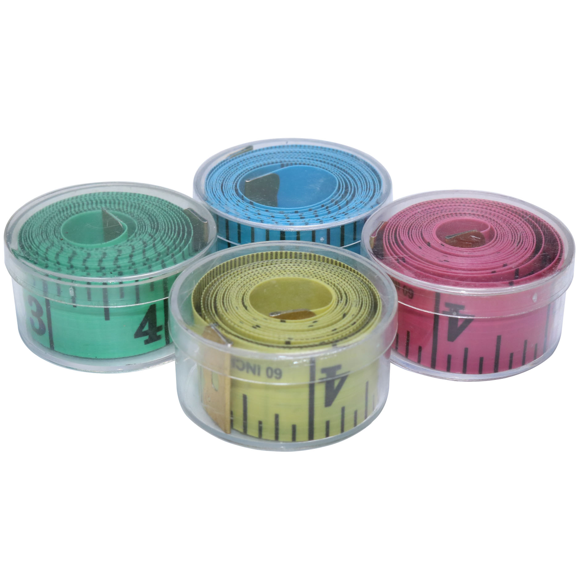 4 Pcs Soft Feet Length150cm/ Width 2cm/ Green Yellow Pink Mix Round Plastic Box Packaging Multi-function Measuring Ruler