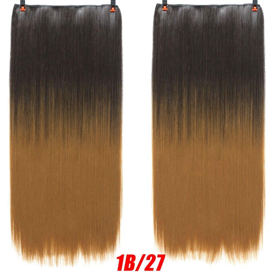 SHANGKE волосы 24 ''длинные прямые женские волосы на заколках для наращивания черный коричневый высокая температура Синтетические волосы кусок - Цвет: 30 #/25 #