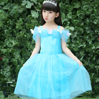 Lace Sequins Princess Elsa Dress Snow Queen Party Costume Girl Wedding Dress Kids Summer Brand Toddler