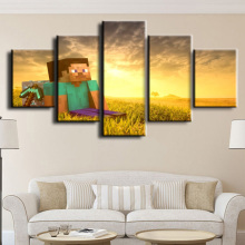 Painting Canvas Wall Art HD Print Decorative Picture Home Living Room Minecraft Game 5 Piece Modern Artwork