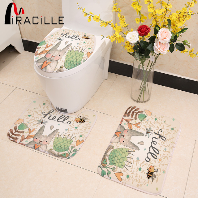Miracille Coniglio Del Fumetto Animale del Modello 3 PZ Toilet Seat Cover Set As