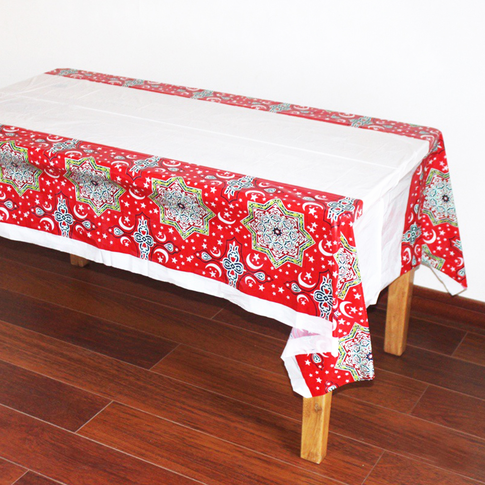 1pcs 108x180cm Plastic Table Cloth Eid Mubarak Table Cover Tablecloth For Moslem Islamic Ramadan Place Party Home Decoration