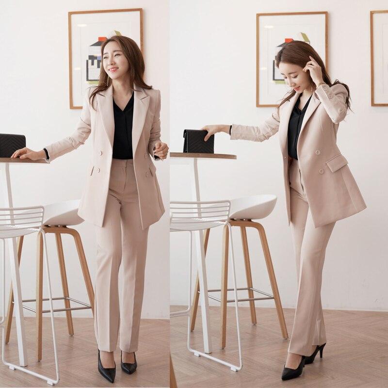Double Pantalon Pantalons Costume Pièces Tenues Ensembles Droit Breasted Femmes D'affaires De Office 1 Blazer 2 Veste Costumes Et Lady qxXgqw4S