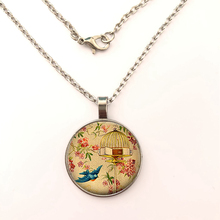 GDRGYB 2019 Free To Fly Leaving Home Gift, Graduation Gift Flying Free Vintage Birdcage Christmas Gift Glass Pendant necklace стоимость