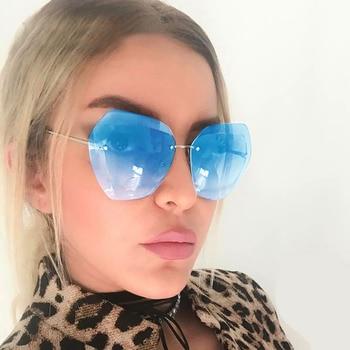 Luxury Fashion Rimless Sunglasses Women Transparent Clear Metal Frame Sun Glasses Vintage Female Oversized Cutting Sunglass 1
