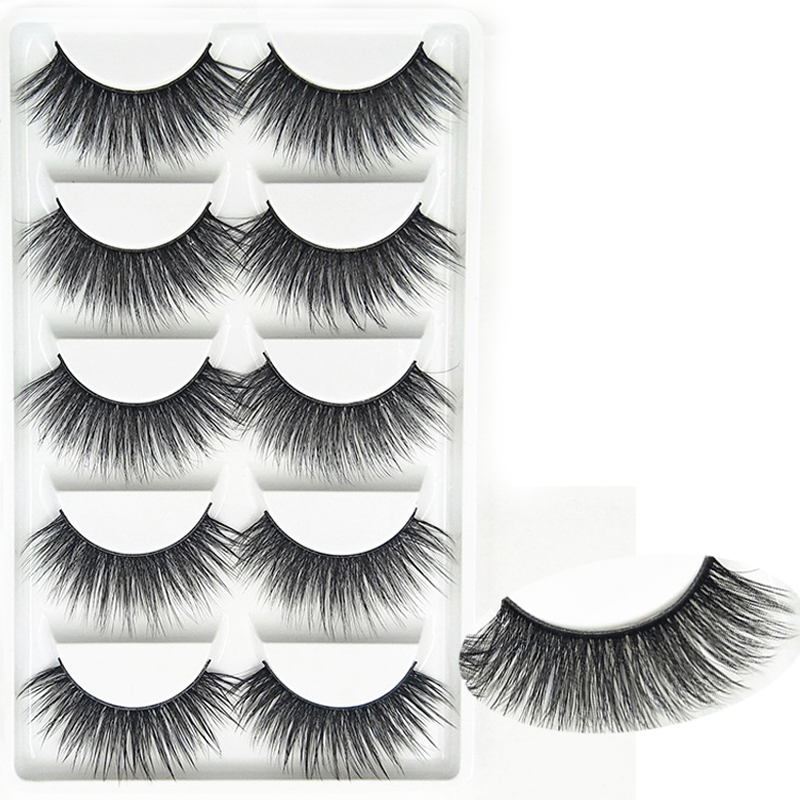 YOKPN 5 Pairs/Lot Quality Fibers 3D False Eyelashes Handmade Natural Thick Fake Eye Lashes Long Volume Eyelashes Stage Makeup