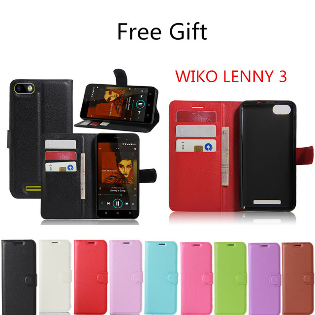 50 pieces/lot  Hot Selling Wiko Lenny 3 Wallet Style PU Leather Case for Wiko Lenny3 with Stand Function and Card Holder