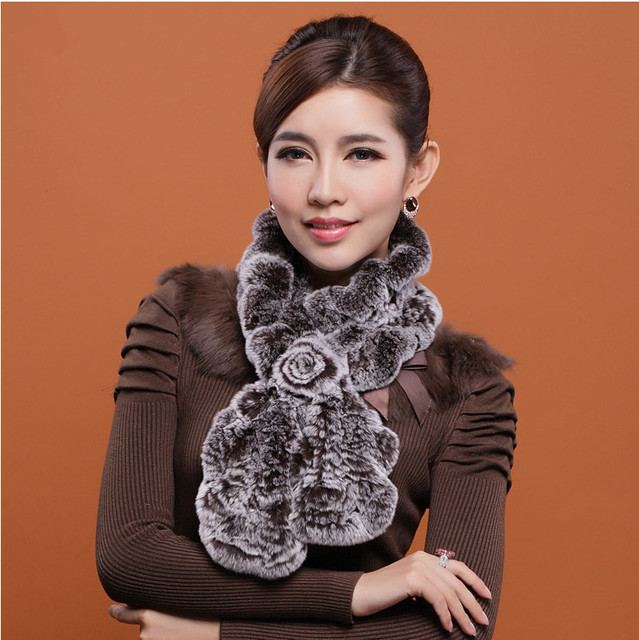 2016 Women's Fashion Real Rex Rabbit Fur Scarves with Floral Design Winter Wraps Lady Neckring VK0310