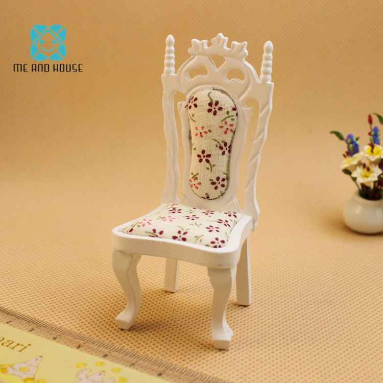 Dollhouse miniatures 1:12 furniture white wooden mini diy dining highback chair