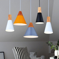 Lamps Pendant Lights Skrivo Design Wood And Aluminum Lamp Restaurant Bar Coffee Dining Room LED Hanging