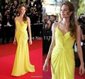 2017 angelina jolie Free Shipping Sexy Custom Made Mermaid Scoop Ruffles Floor-Length Yellow Celebrity Dress Red Carpet Gown