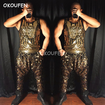 2018 New Sequined Gold Vest Harem pants costume suit Bar nightclub hipster male dance singer male stage show costume