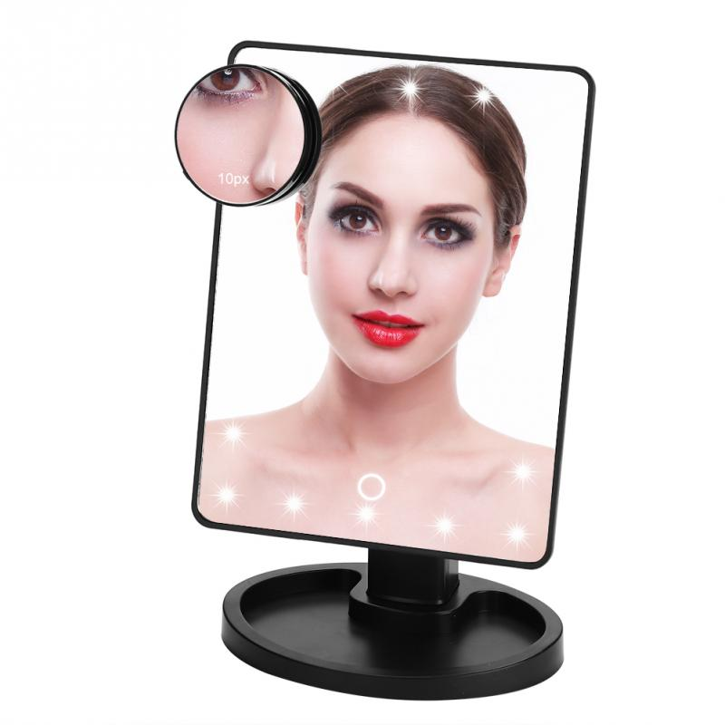 22 LED Lights 360 Adjustable Degree Rotating Professional Vanity Makeup Mirror Tabletop Touch Screen With 10X Magnifier  Mirror Салфетницы