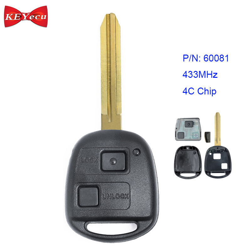 Keyecu Keyless Entry Remote Car Key Fobs 433MHz for Toyota FCC ID:ELVATDD 2+1 Button