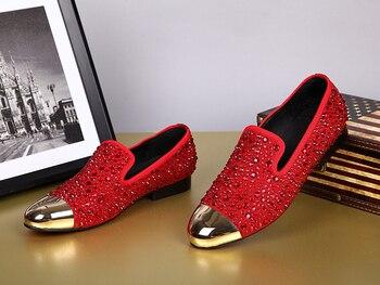 Zapatos De Marca De Lujo Para Hombre, Mocasines De Decoración De Cristal, Zapatos Planos De Moda Negros/rojos, Mocasines De Hombre Populares