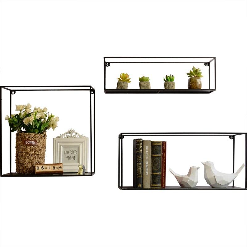Nordic minimalist wrought iron wall partition racks living room wall decoration creative wall shelf shelf - 4