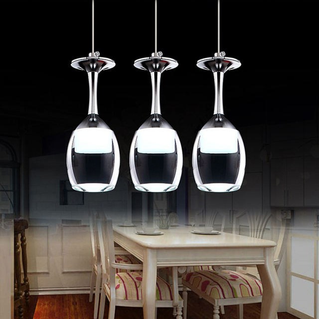 Comtemporary Wine Cup Shape Led Pendant Lamp Glass Stainless Steel - Stainless steel light fixtures kitchen
