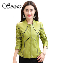 Smiao 2018 New Women Jackets Leather PU Jacket for Plus Size Faux Coat Spring Slim Zipper Outwear 4XL