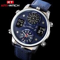 Top Brand Men's Sport Watches KAT WACH Men Fashion Leather Analog Waterproof Quartz Clock Male Luminous Chronograph Wristwatch