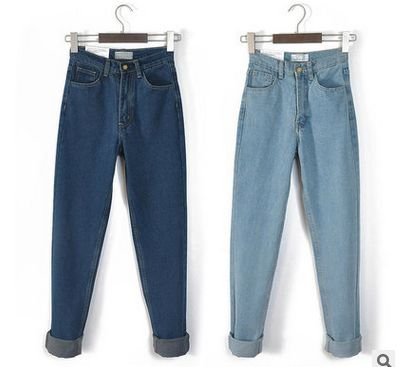 American Apparel Street Fashion Lady Retro High Waist Denim Jeans Boyfriend Jeans for Women plus size