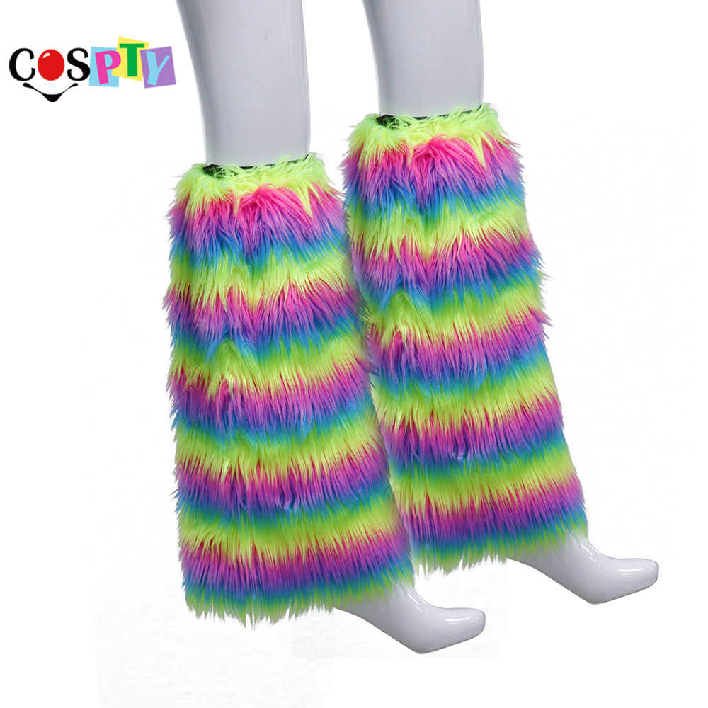 d9ff92f420d0b Cospty Festival Parade Party Costume Accessories Rainbow High Socks Faux  Fur Boot Cover Cuffs Gay Pride