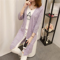 33 New Summer Long Dresses Knit Flower Yarn Seven Female Sleeve Cardigan Jacket F1840