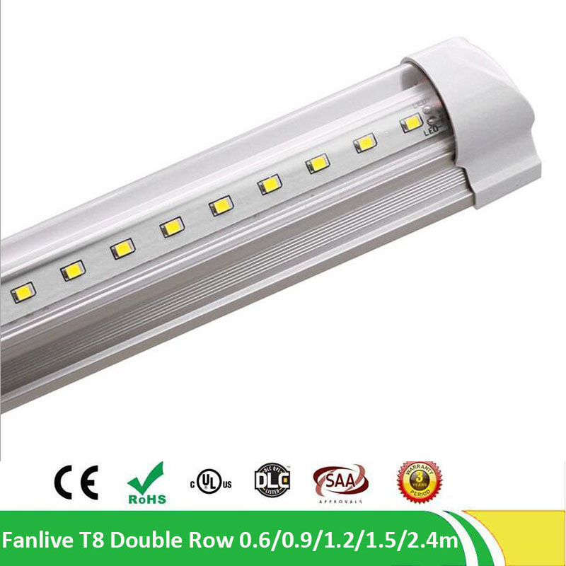 15pcs/lot T8 Integrated Cooler Door 8ft 2.4m 2400mm 65W Led T8 V Shaped LED Tube SMD2835 384pcs Led 85-265V Fluorescent Lighting free shipping 1800mm home lighting 6ft t5 integrated led tube lights smd2835 28led pcs 30w 100pcs lot