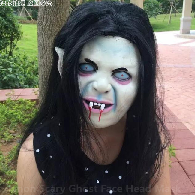Halloween Party Cosplay Scary Ghost Face Mask Halloween Toothy Zombie Bride With Black Hair Horror Ghost Head Mask Toy Costume Props
