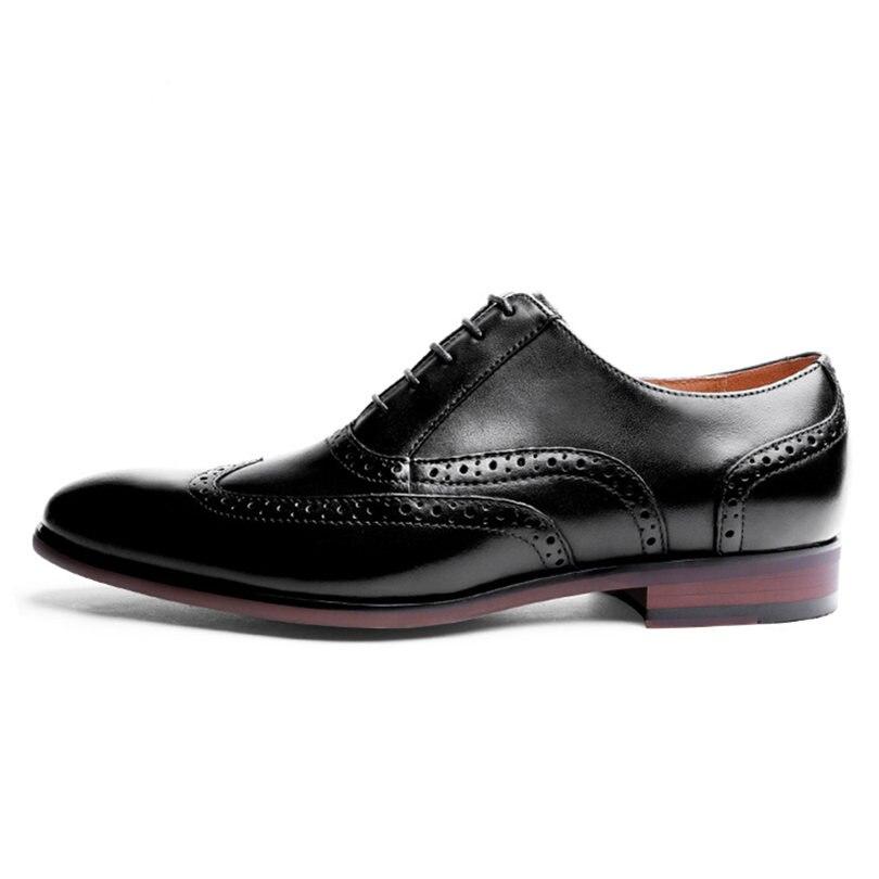 Zapatos de vestir de boda de negocios de oficina hechos a mano marrón de lujo Formal de cuero genuino hombres zapatos tamaño 38 47 - 3