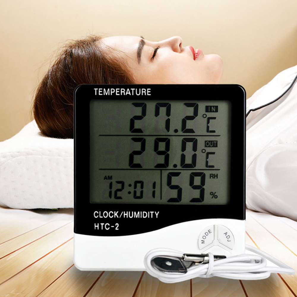 Indoor and Outdoor Large Screen Digital Display Temperature and Humidity Meter Time Calendar Alarm Thermometer and Hygrometer