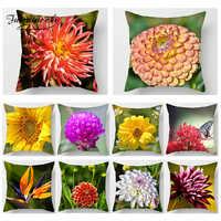 Fuwatacchi 3D Druck Kissen Abdeckungen Blume Blatt Farbe Kissen Deckt Wohnkultur Acessories Sofa Stuhl Auto Chrysantheme Kissenbezug
