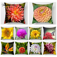 Fuwatacchi 3D Print Cushion Covers Flower Leaf Paint Pillow Home Decor Acessories Sofa Chair Car Chrysanthemum Pillowcase