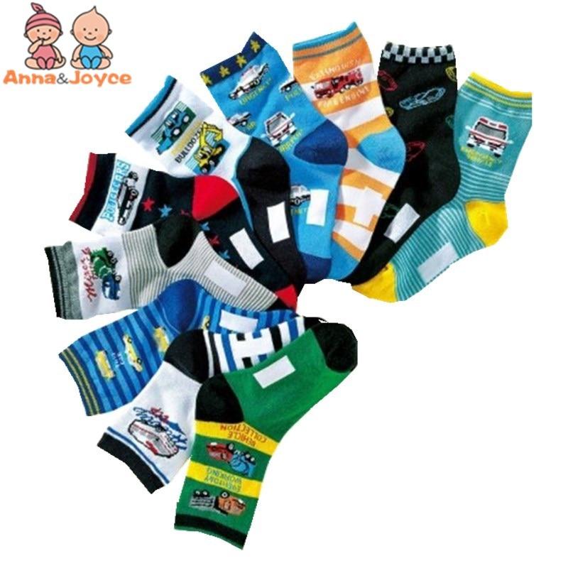 10 Paare/los Kinder Herbst Und Winter Stock Cartoon Auto Baumwolle Jungen Socken Tws0386