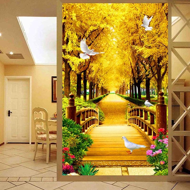 Scenery-Series Painting Cross-Stitch QIANZEHUI Needlework Landscape Gold Full-Embroidery