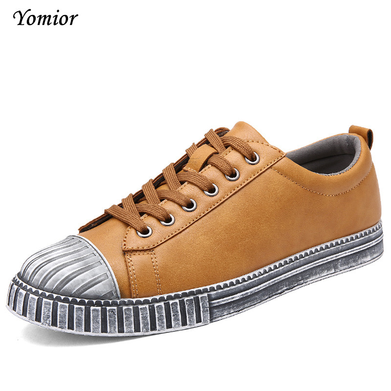 Yomior Spring Autumn New Mens Dirty Shoes Leisure Leather Shoes for Mans Casual Fashion Lace-Up Breathable Comfortable Sapatos mens s casual shoes genuine leather mens loafers for men comfort spring autumn 2017 new fashion man flat shoe breathable