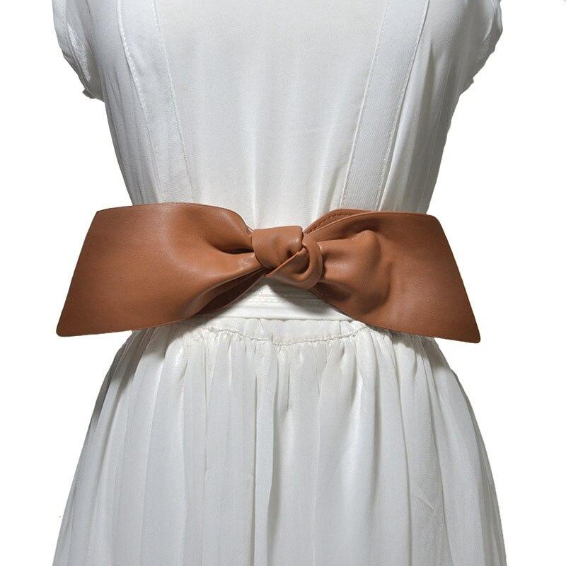 2019 New Women Bowknot Decoration Elastic Girdle Belt Wild Wide Imitation Leather Waist Belts M8694