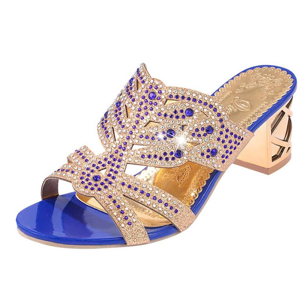 HTB11zntseuSBuNjy1Xcq6AYjFXa3 SAGACE 2018 Summer Open Toe Chunky Heels Women Sandals Leather Rhinestones Party Shoes Girls Crystals Casual Beach Flip Flops