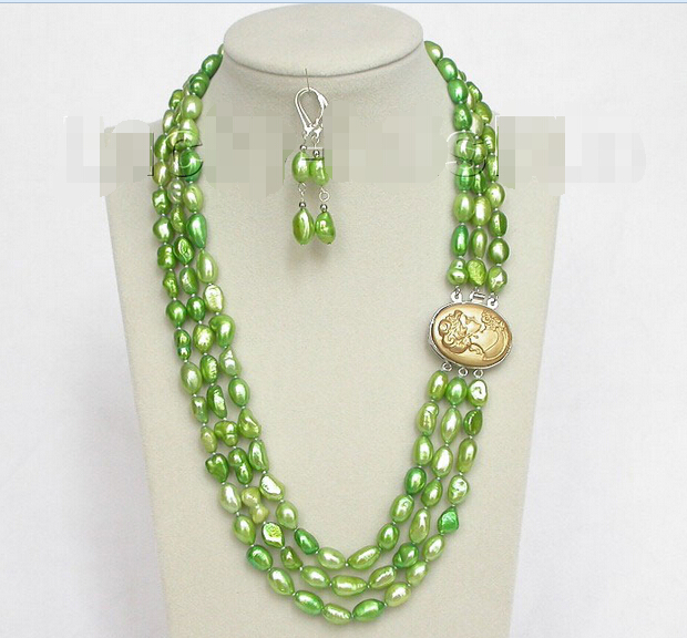 shipping 3row 12mm baroque light green pearls necklace dangle Earring j8496 (A0423) -Top quality free shipping